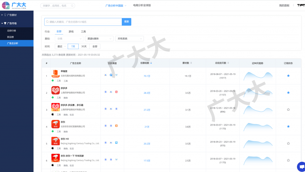 广大大 广告分析中国版-焕新升级-广告主搜索