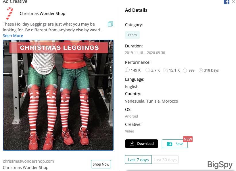 Christmas Wonder Shop Facebook ad - BigSpy