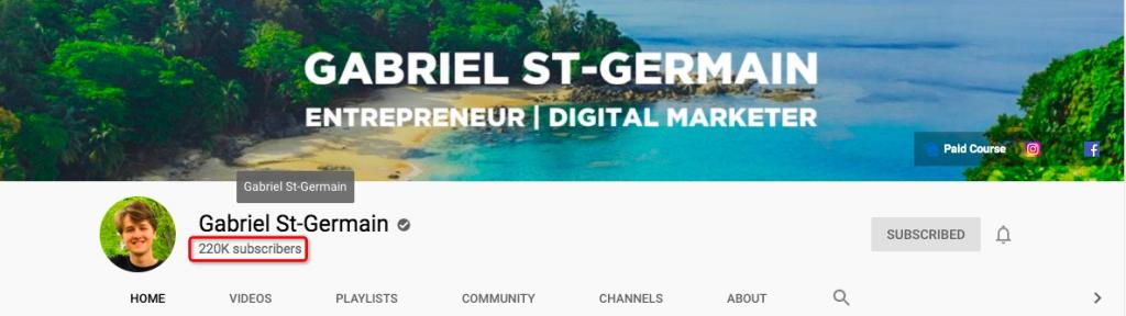 Gabriel St-Germain's YouTube channel