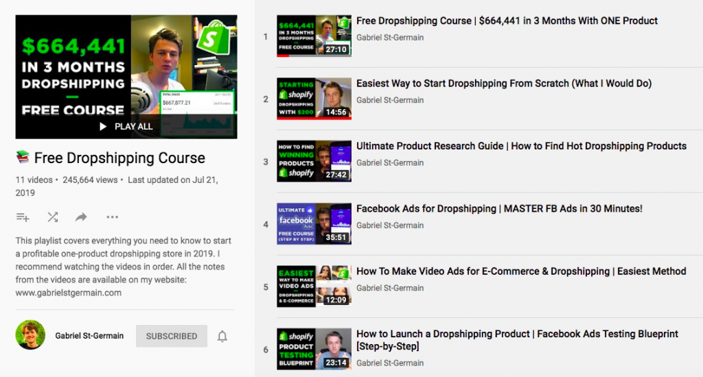 Gabriel St-Germain's YouTube channel - free dropshipping course
