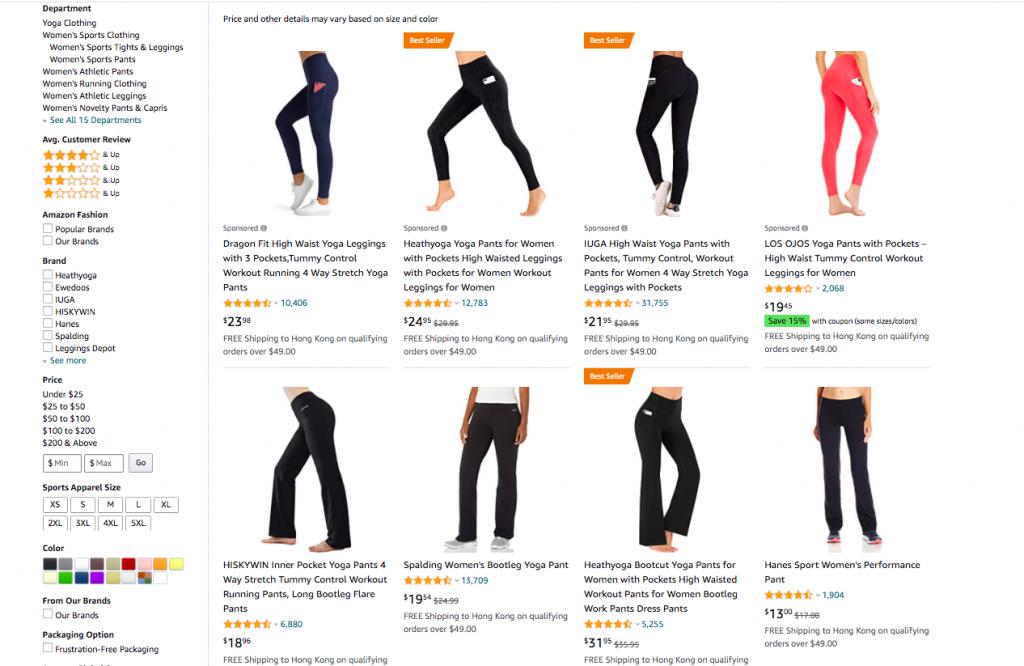 yoga pants organic ranking in Amazon -- AmzChart