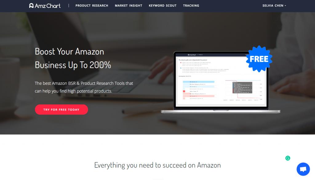 the homepage of AmzChart -- AmzChart