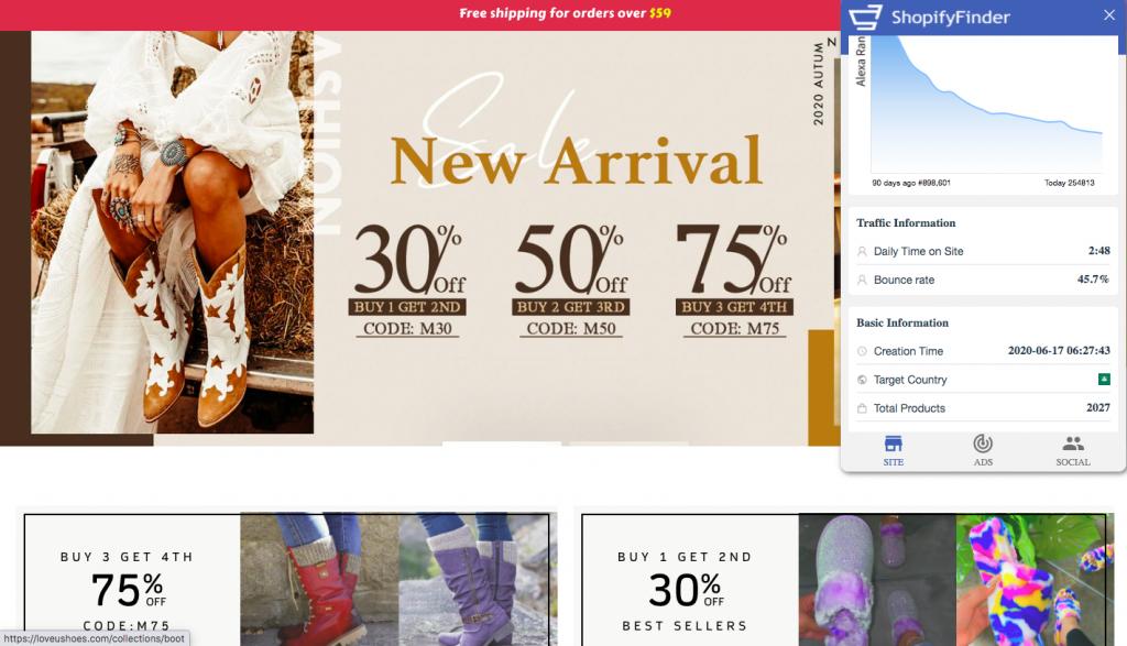 ShopifyFinder analyzing one Shopify store -- FindNiche