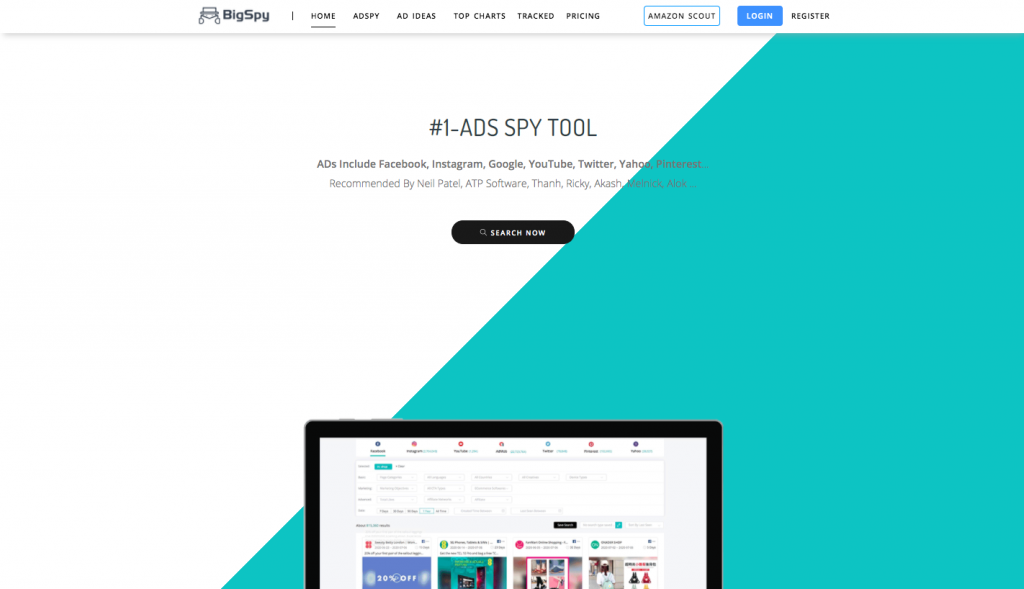 the homepage of BigSpy -- FindNich