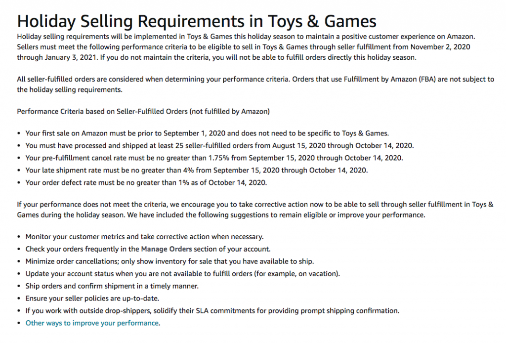 Amazon holiday selling requirements in Toys & Games -- AmzChart